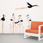 berze-in-papura-autoloant-decorativ-de-perete-storks-with-vegetation-wall-sticker-1
