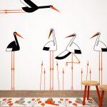 berze-in-papura-autoloant-decorativ-de-perete-storks-with-vegetation-wall-sticker